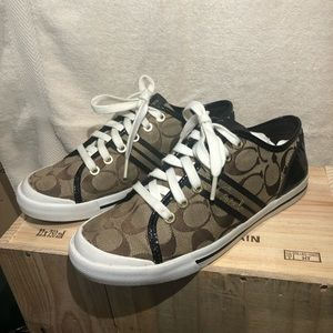 Coach Brown Signature Logo Sneakers Size 7